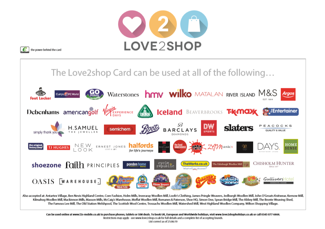 Love2Shop Gift Cards - Voucher Range | Variety Christmas